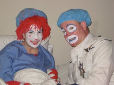 "Mr. & Mrs. Howdy Clown on set of ""The Octo Circus."""